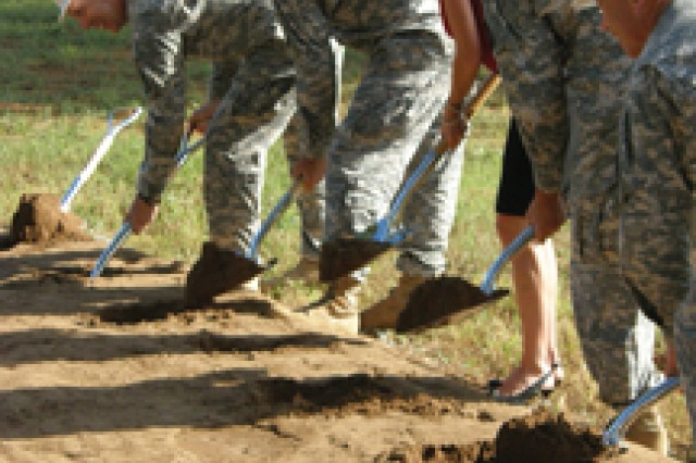 FORT POLK, La. -- Fort Polk dignitaries and a guest break ground on the new Joint Readiness Training Center and Fort Polk 4th Brigade Combat Team, 10th Mountain Division (Light) Headquarters Sept. 9.