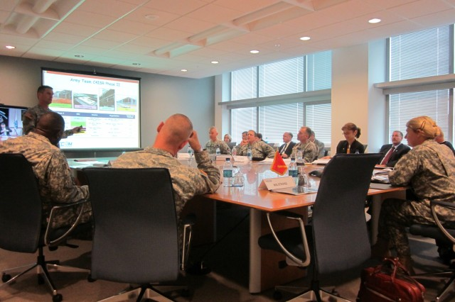 In his overview briefing attended by CECOM senior leaders, Maj. Gen. Randolph P. Strong told Gen. Ann E. Dunwoody, the U.S. Army Materiel Command's commanding general, that relocation of his command's headquarters elements and construction of the new high-technology campus at Aberdeen Proving Ground, Md., are both nearing completion.