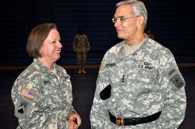 Brig. Gen. Jennifer L. Napper, incoming commander, speaks with Lt. Gen. Jeffrey A. Sorenson, Army Chief Information Officer/G-6, prior to the Network Enterprise Technology Command/9th Signal Command (Army) change of command ceremony Sept. 22 at Barnes Field House.