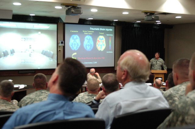 Army Vice Chief of Staff Gen. Peter Chiarelli addresses Fort HoodAca,!a,,cs Health Promotion Council Sept. 21 at III Corps headquarters. Chiarelli attended the monthly meeting to raise awareness about TBI, PTS and behavioral health.