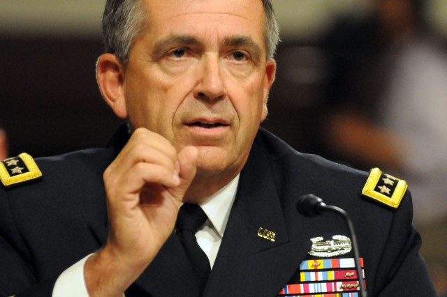Vice Chief of Staff of the Army Gen. Peter W. Chiarelli speaks June 22 before the Senate Armed Services Committee about steps the Army is taking to curb suicides among Soldiers.