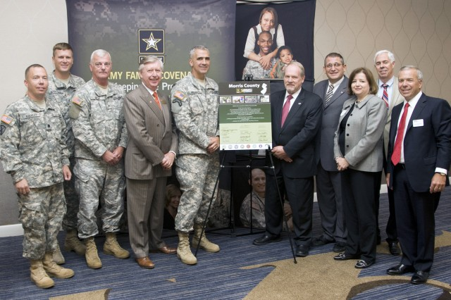 PICATINNY ARSENAL, N.J. - Brig. Gen. Maddux was joined by NJ's Civilian Aide to the Secretary of the Army and other community and military leaders in signing the 2010 Army Community Covenant in Parsippany, NJ, Sept. 13.