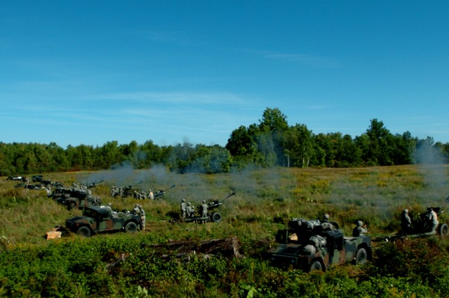 FORT DRUM, NY--The 1-258th Artillery Battalion gun line at Fort Drum, NY on Sept. 18-19.