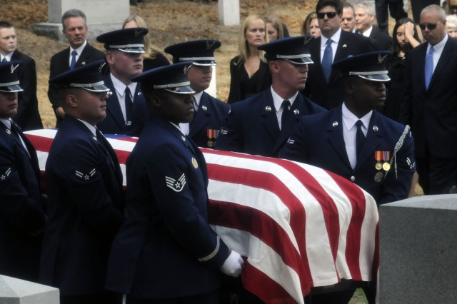 Former Alaska Sen. Ted Stevens, who served in the Senate longer than any Republican in history, was laid to rest with full military honors in Arlington National Cemetery on Sept. 28. He served in the Army Air Forces in the 1940s.