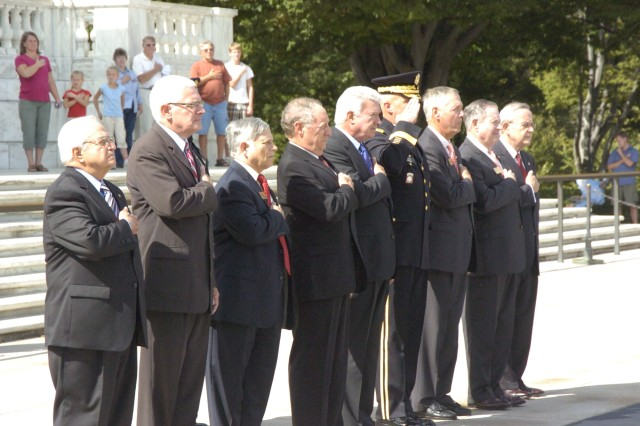 Members of the Civilian Aides to the Secretary of the Army render honors with Maj. Gen. Karl Horst, commander of Joint Force Headquarters National Capital Region and U.S. Army Military District Washington during a wreath laying ceremony at the Tomb of the Unknowns at Arlington National Cemetery, Sept. 28.