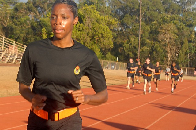 "SCHOFIELD BARRACKS, Hawaii - Sgt. Dalani Brown, 25th Infantry Division, 3rd Brigade Combat Team paralegal, competes in an Army Physical Fitness Test as part of the U.S. Army, Pacific Paralegal Warrior Challenge, an annual event hosted by USARPAC in Hawaii.  Brown won the ""Iron Award"" for best APFT score during the competition and placed first among the eight paralegal Soldiers from units throughout the Pacific."
