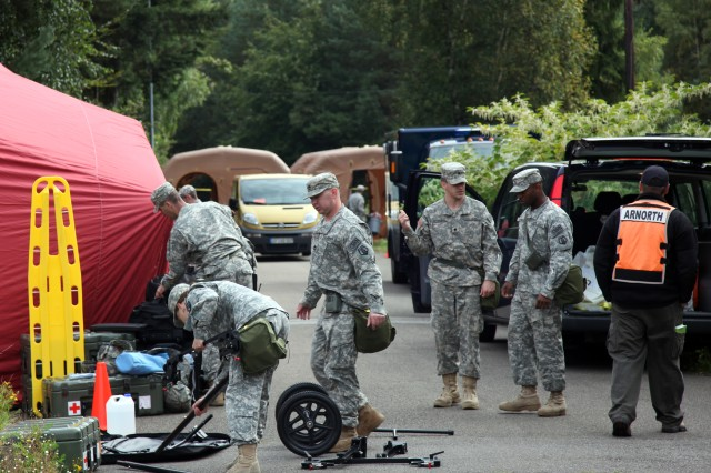 Members of the 773rd Civil Support Team prepare a medical station during a training exercise at Rhine Ordnance Barracks Sept 16. The exercise was to keep the members of the chemical, biological, radiological and nuclear team trained and ready in the event a real situation does occur.