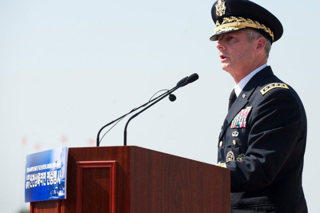 U.S. Army Gen. Walter Sharp, commander of United Nations Command, Combined Forces Command and U.S. Forces Korea, addresses the crowd during ceremonies marking the 60th anniversary of the Inchon Landing, Sept. 15, 2010.