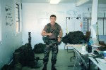 Staff Sergeant Robert Miller with all his Army gear