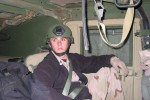 Staff Sergeant Robert Miller  in an Amry vehicle in Afghanistan