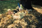 Children playing ina leaf pile