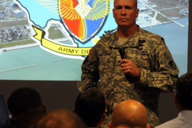 Col. Christopher Carlile, Corpus Christi Army Depot commander, takes questions from the AAAA general membership meeting attendees at The Landing Sept. 23.