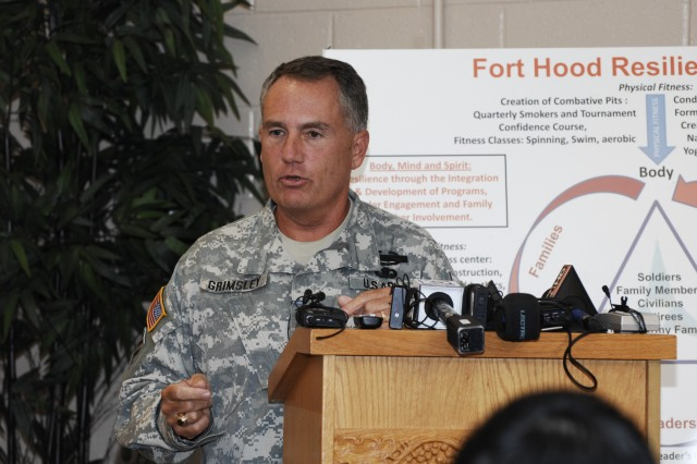 Maj. Gen. Will Grimsley, Fort Hood's senior commander, addresses members of the media at the Fort Hood Resiliency Campus Wednesday regarding an apparent spike in suicides at the installation.