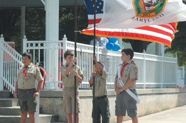 Boy Scouts from left: Dominic Trulli, Michael Sanphillipo, Joe Paolucci and Rusty Dodson serve as the color guard during the St. Joan of Arc School's fifth annual Freedom Walk, held at Festival Park in Aberdeen, Sept. 10. The event remembers the victims of 9-11 and public servants who continue to protect the nation.