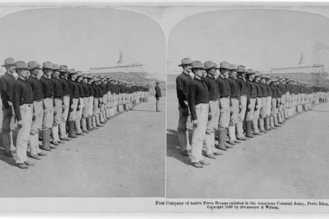The first company of native Puerto Ricans enlisted in the American Colonial Army in Puerto Rico, 1899.