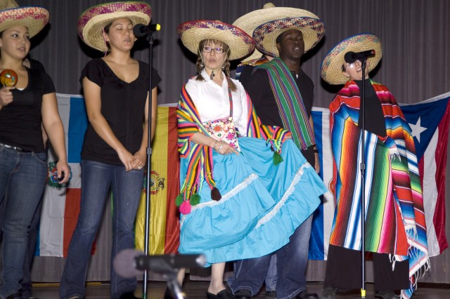 PRESIDIO OF MONTEREY, Calif. Aca,!A? Students and staff from the Defense Language Institute Foreign Language Center perform at last year's Hispanic Heritage Month observance.