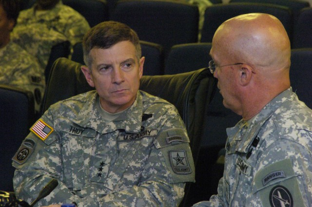 Director of the Army Staff, Lt. Gen. William Troy receives a command briefing on the responsibilities and capabilities of the Joint Force Headquarters National Capital Region and the U.S. Army Military District of Washington (JFHQ-NCR/MDW) from its commanding officer, Maj. Gen. Karl Horst during a visit to Ft. McNair, Sept. 30.  Troy was promoted to Lt. Gen. and assumed his current position in Aug., 2010.