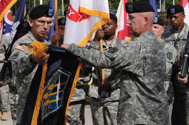 Maj. Gen. Rhett A. Hernandez assumed command of the U.S. Army Cyber Command from Lt. Gen. Kevin T. Campbell, who is also the commanding general of U.S. Army Space and Missile Defense Command, as well as U.S. Army Forces Strategic Command, during an uncasing of the colors and change of command ceremony in front of the Nolan Building on Fort Belvoir, Va., Oct. 1.