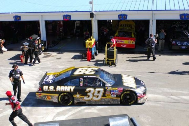 Ryan Newman, driver of the #39 U.S. Army racecar prepares to leave the garage for practice laps at the Kansas Speedway on Oct. 1. More than 800 Soldiers of the 1st Inf. Div. received complimentary tickets to this Sunday's Sprint Cup Race in Kansas City, Kan.