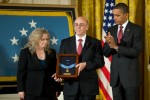 Staff Sergeant Robert Miller's parents with his Medal of Honor and President Obama