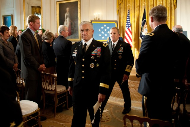 U.S. Army Chief of Staff Gen. George W. Casey Jr.  leaves the East Room of the White House following a Medal of Honor ceremony for Staff Sgt. Robert J. Miller, Oct. 6, 2010. Miller was posthumously awarded the honor for his heroic actions in Afghanistan, displaying immeasurable courage and uncommon valor eventually sacrificing his own life to save the lives of his teammates and 15 Afghanistan National Army soldiers.