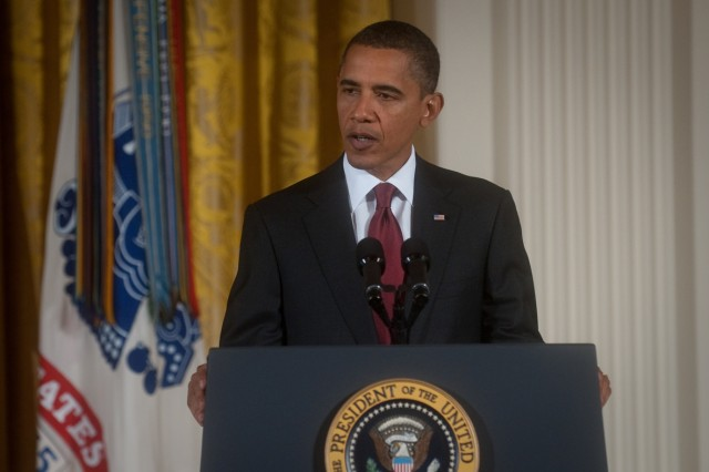 President Barack Obama addresses the audience during a Medal of Honor ceremony for Staff Sgt. Robert J. Miller in the East Room of the White House in Washington, D.C., Oct. 6, 2010.  Miller was posthumously awarded the honor for his heroic actions in Afghanistan, displaying immeasurable courage and uncommon valor eventually sacrificing his own life to save the lives of his teammates and 15 Afghanistan National Army soldiers.