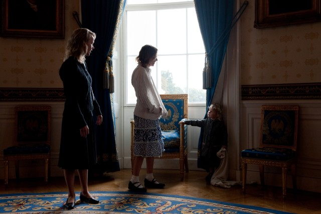 Sisters of Staff Sgt. Robert J. Miller - Patricia and Therese - wait with their niece, Lynn Silosky, in the Blue Room of the White House before their  brother is posthumously awarded the Medal of Honor from the President of the United States on Oct. 6, 2010.