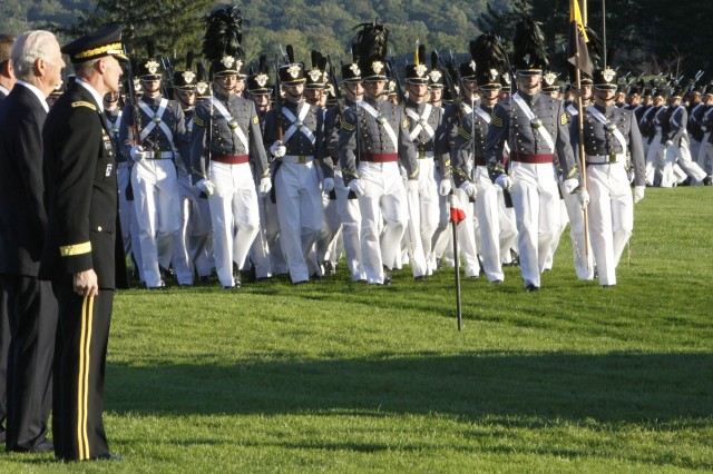 """Former Secretary of State James A. Baker, III stands between Lt. Gen. David H. Huntoon, Jr., West Point Superintendent, and Jodie Glore, West Point Association of Graduates chairman, during a pass in review of the Corps of Cadets on the Plain at West Point. Baker was presented the 2010 West Point Sylvanus Thayer Award Oct. 7 at a dinner in his honor. The Thayer Award is presented annually by the West Point Association of Graduates to an outstanding U.S. citizen whose service and accomplishments exemplify the ideals expressed in the West Point motto """"Duty, Honor, Country."""" Photo by Mike Strasser, West Point Directorate of Public Affairs and Communications"""
