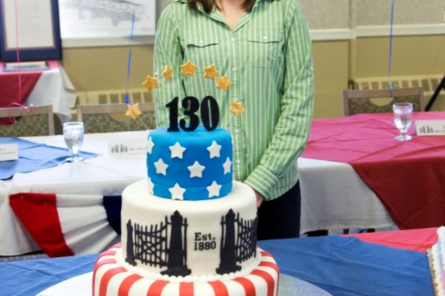 Michelle Shutz, materials engineer, designed and decorated Picatinny Arsenal's 130th birthday cake, which was enjoyed by employees during a cake-cutting ceremony Sept. 7.