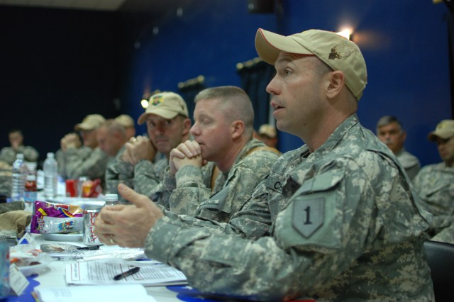 Lt. Col. Kenneth Chase speaks during an Army aviation conference on Camp Taji, Iraq, Oct. 7. Chase commands the 1st Squadron, 6th Cavalry Regiment, a scout helicopter squadron assigned to the Enhanced Combat Aviation Brigade, 1st Infantry Division. The brigade's senior leadership from around Iraq met on Camp Taji to discuss the current state and future of Army aviation in Iraq.  (U.S. Army photo by Spc. Roland Hale, CAB, 1st Inf. Div. PAO)