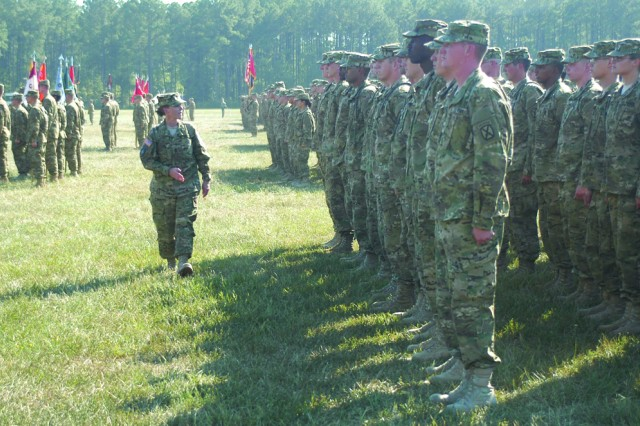FORT POLK, La. -- Command Sgt. Maj. Melissa Judkins (center), command sergeant major, 94th Brigade Support Battalion, 4th Brigade Combat Team, 10th Mountain Division, addresses her troops on Honor Field before the brigade's deployment ceremony Sept.
