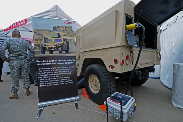 The Pentagon center courtyard hosted more than 80 displays of renewable and energy secure technologies currently used by deployed forces. BAE Systems provides power on demand following emergencies and natural disasters.
