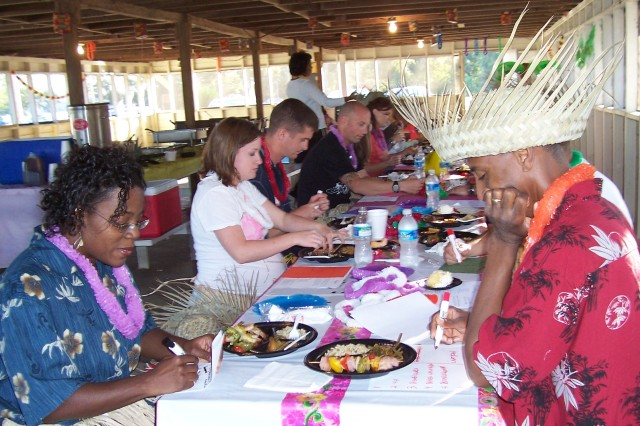 Fort Rucker couples enjoy the Couples Aloha Paradise Fun Night in October 2008. Another Hawaiian-themed relationship-building event is Oct. 16 from 4 to 6 p.m. at Lake Tholocco's West Beach.