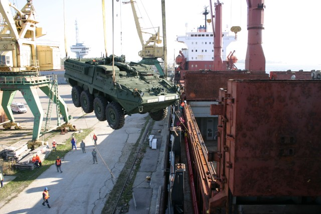 A Stryker belonging to 56th SBCT is lifted from the MV American Tern at Riga, Latvia in preparation for the training exercise Saber Strike 11.