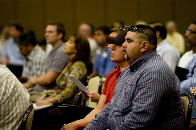 """Business representatives learn about Fort Bliss contractor opportunities during """"Industry Day"""" at the Centennial Banquet and Conference Center at East Fort Bliss, Oct. 14."""