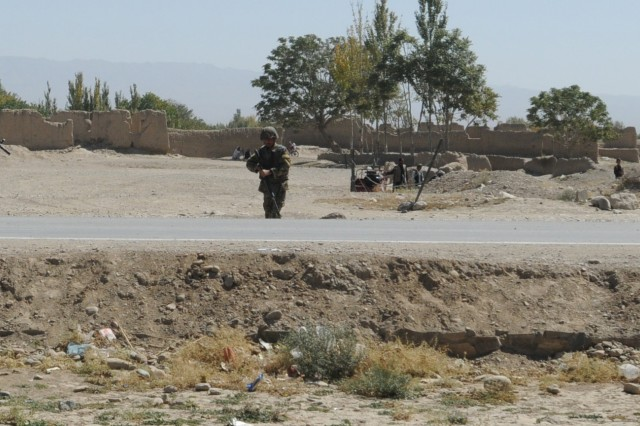 TF Currahee Soldiers on patrol in KKC