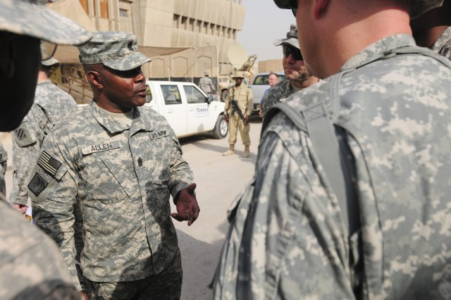 Command Sgt. Maj. Joseph R. Allen, United States Forces-Iraq command sergeant major, talks to the first sergeants of 1st Battalion, 41st Field Artillery  Sept. 21 during a visit to JSS Loyalty. Allen accompanied Gen. Lloyd J. Austin III, USF-I commanding general, to speak with the battalion leadership and to  recognize Soldiers for their job performance.