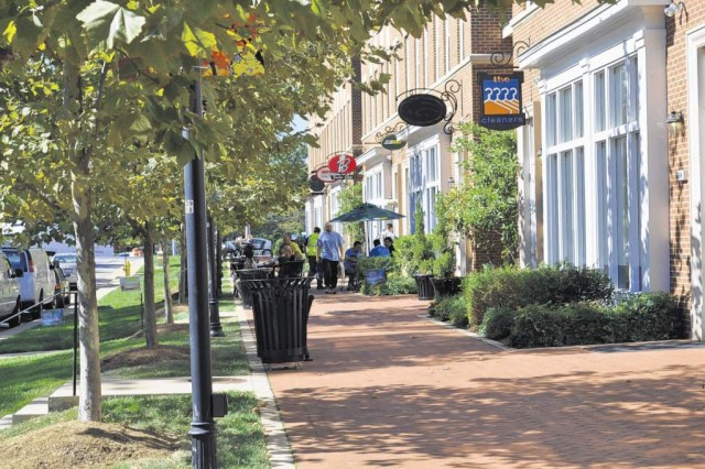 Fort Belvoir's mixed-use town center includes 25, two-story residences over retail and office space. The White House Council on Environmental Quality recently presented Belvoir's Residential Communities Initiative with one of eight GreenGov Presidential Awards.