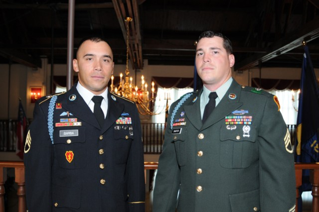 """Staff Sgt. Eddie Barba poses with his sponsor Staff Sgt. Justin Shaffer just before his board appearance during the 2010 Department of the Army Noncommissioned Officer and Soldier of the Year """"Best Warrior"""" Competition being held Oct. 17-22 at Fort Lee, Va.  Barba is one of 24 participants from various commands around the Army entered into the competition."""