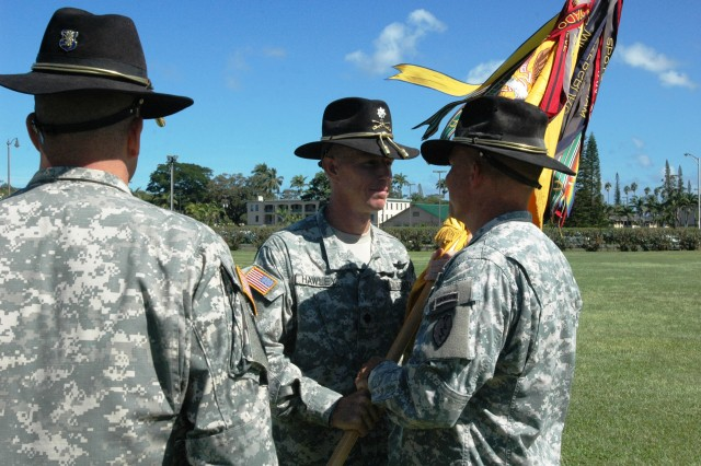 "Lieutenant Colonel Kenneth Hawley (center), outgoing commander for the 2nd Squadron, 6th Cavalry Regiment, 25th Combat Aviation Brigade (CAB), passes the squadron guidon to Col. Mike Lundy (right), commander, 25th CAB, during the ""Lightning Horse"" Squadron's change of command on Sills Field at Schofield Barracks, Oct. 13.(U.S. Army photo by Sgt. 1st Class Tyrone C. Marshall Jr., 25th Combat Aviation Brigade Public Affairs)"