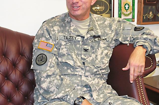 Col. Danny Tilzey, 407th AFSB commander, Fort Hood, Texas.