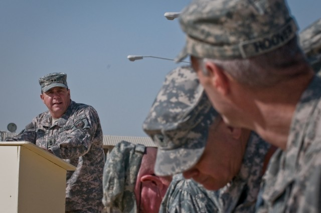 """Keynote speaker, Army Maj. Gen. Timothy P. McHale, U.S. Forces- Afghanistan deputy commander of support, addresses the congregation during the Joint Sustainment Command-Afghanistan transfer of authority ceremony Oct. 17 at Kandahar Airfield, Afghanistan."""""""