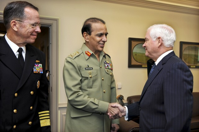 Defense Secretary Robert M. Gates welcomes Pakistani Army Chief of Staff Gen. Ashfaq Parvez Kayani to his Pentagon office for security discussions, Oct. 20, 2010. Navy Adm. Mike Mullen, left, chairman of the Joint Chiefs of Staff, also participated in the talks.