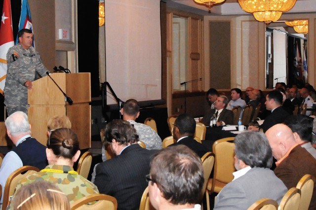 Army Vice Chief of Staff Gen. Peter Chiarelli talks about KM tools to nearly 500 gathered in Kansas City, Mo., for the 6th Annual Army Operational Knowledge Management Conference Oct. 19.