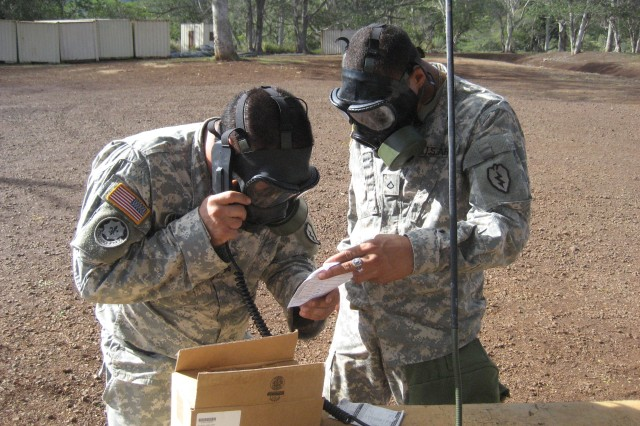 Chemical Corps Soldiers from 3rd BCT, 25th ID, simulate calling up a nine-line medical evacuation report during Dragon Week, which ended Oct. 1, and focused on training chemical Soldiers in preparation for their upcoming deployment.
