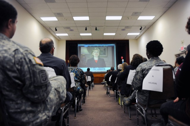 PRESIDIO OF MONTEREY, Calif. Aca,!A? Key leaders and helpers watch a Combined Federal Campaign video during the Oct. 19 kick-off ceremony for the annual charity season at the Presidio.
