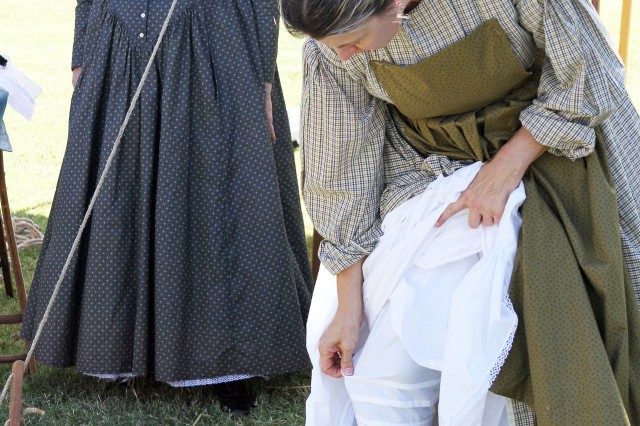 This showing of undergarments would have been scandalous in the time Lori Siltman and Alma Shappell, were portraying. The two represented laundresses who were responsible for washing Soldiers' clothing during the 1860s.