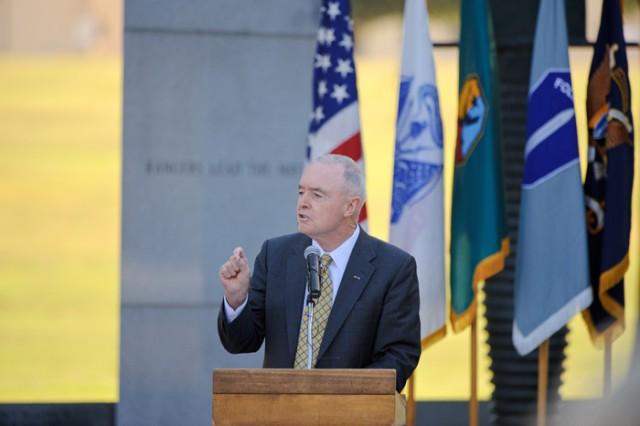 GEN(R) Barry McCaffrey spoke at the memorial Friday.