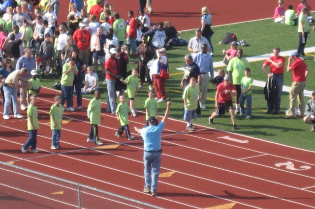 Participants prepare to take off on a race during the 42nd annual Special Olympics at Milton Frank Stadium Oct. 19.