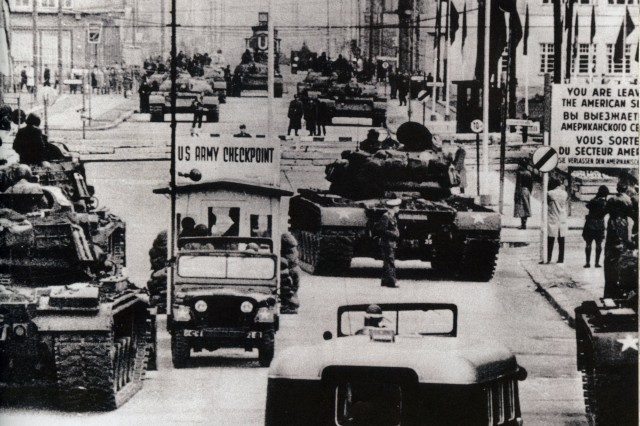 U. S. Army tanks face off against Soviet armor at Checkpoint Charlie, Berlin, October 1961.